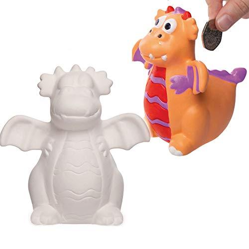 Baker Ross Drache individualisierbare Keramik Spardosen (2 Stück) Kreative Künstler- und Bastelbedarf für Kinder zum Basteln, Personalisieren und Schmücken