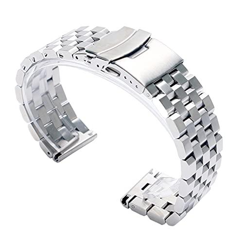 MSRRY Cinturino per orologio da polso in argento da 24 mm, chiusura pieghevole con sicurezza in acciaio inox e 2 barre a molla
