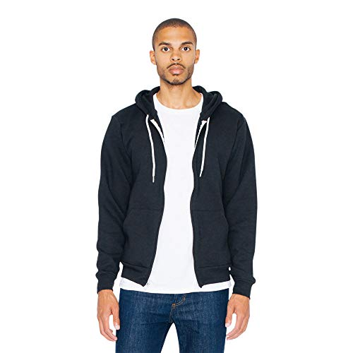 American Apparel Men's Flex Fleece Long Sleeve Zip Hoodie, Style F497W, Black, Medium