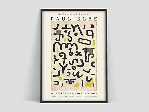 Póster, Impresión de arte, Museo de Arte Moderno, Minimalista moderno, Arte de pared Klee, Lienzo decorativo sin marco familiar V 60x90cm