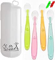 a&m company, cucchiaino svezzamento silicone, cucchiaio dentizione neonato, porta cucchiaini + 4 cucchiai manico lungo, set pappa neonato, kit baby punta morbida,bebè 4+.