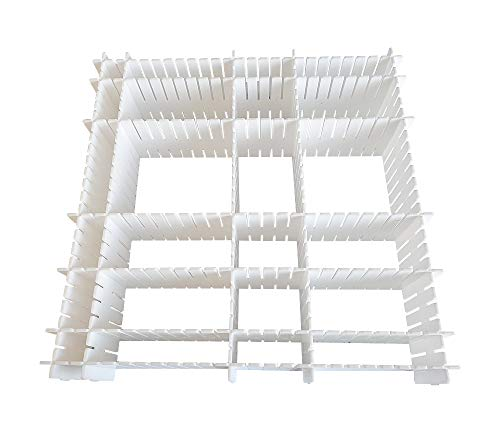 JSF DIY Schubladen-Organizer| Verstellbare Schreibtisch Organizer Kunststoff| 12er-Set Schubladeneinsatz Kosmetik| Schubladenteiler Perfekt für die Lippenstifte I Weiß