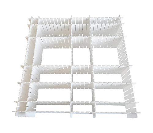 JSF DIY Separadores de Cajones 32.4 x 7 cm, Set de 12 Ajustable Organizador de Cajones (Blanco)