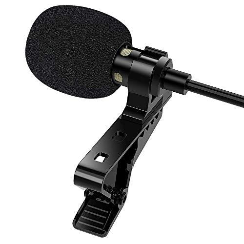1mii - Micrófono lavalier para PC, condensador Omnidirectional Mini Microfon, micrófono para smartphone, cámara y PC