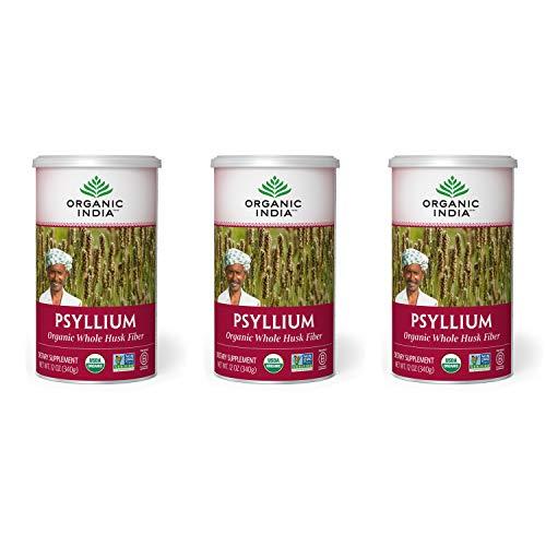 Organic India Psyllium Herbal Powder - Whole Husk Fiber, Healthy Elimination, Keto Friendly, Vegan, Gluten-Free, USDA Certified Organic, Non-GMO, Soluble & Insoluble Fiber - 12 oz Canister, 3 Pack