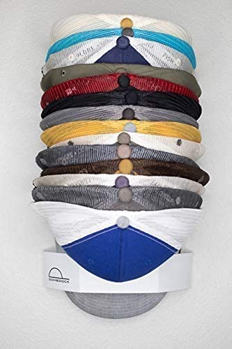 DomeDock Wall Mount Hat Rack 20 Ball Cap Storage. Compact Hat Organization System. Made and Shipped in USA. (Single, White)