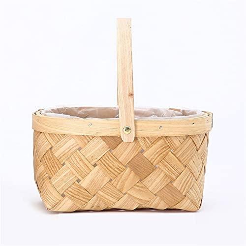 GZSC Mini Chip di Legno Piccolo Cestino del Fiore Portatile Cestino del Fiore Portatile Rotondo Quadrato in bambù Tessuto Floreale Vaso Verde pianta pianta Fiore Cestino del Fiore (Color : F)