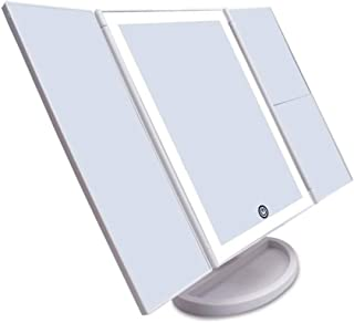 AINIYF Countertop Mirror Lighted Makeup Vanity Mirror Tri-fold Touch Screen Cosmetic with Led Lights 180 Rotation Dual Power Supply