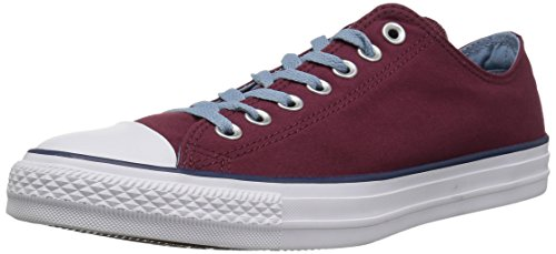 Converse Chuck Taylor All Star Color Blocked Low TOP Sneaker, Dark Burgundy/Washed Denim, 10 M US