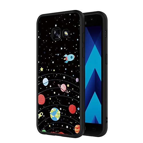 ZhuoFan Cover Samsung Galaxy A5 2017, Custodia Cover Silicone Nero con Disegni Ultra Slim TPU Morbido Antiurto 3d Cartoon Bumper Case Protettiva per Samsung Galaxy A5 2017 Smartphone (Stars Sky)