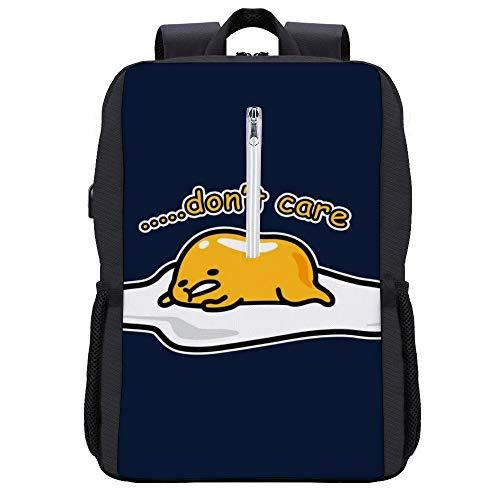 Gudetama Dont Care Backpack Daypack Bookbag Laptop School Bag with USB Charging Port