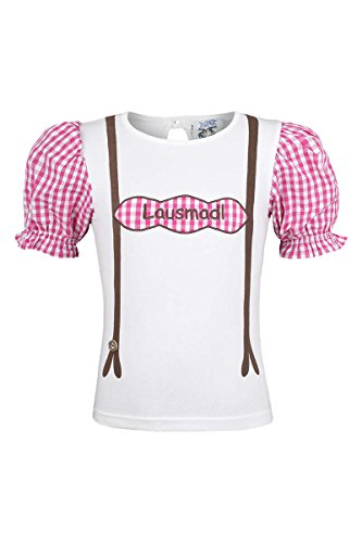 Isar-Trachten Isar-Trachten Mädchen T-Shirt 'Lausmadl', pink, 80