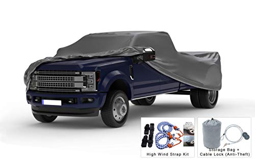 Weatherproof Truck Cover Compatible with 2010-2019 Dodge Ram 3500 Crew Cab~8 Ft Bed - 5L Outdoor & Indoor - Protect from Rain, Snow, Hail, Sun - Theft Cable Lock, Bag & Wind Straps