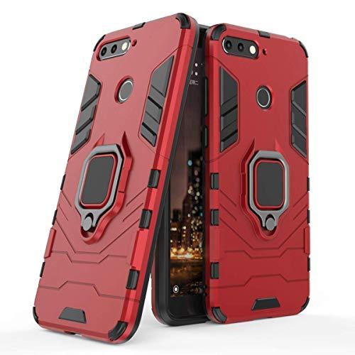 LuluMain Compatible con Honor 7A Funda, Anillo Metálico Sujeción Soporte Antichoque Caja (Funciona con el Montaje de Coche Magnético) Doble Capa Case Carcasa para Huawei Honor 7A (Rojo)