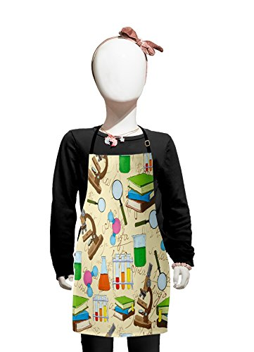 Lunarable School Kids Apron, Science Education Lab Sketch Books Equation Loupe Microscope Molecule Flask Print, Boys Girls Apron Bib with Adjustable Ties for Baking Painting, Kids Size, Cream