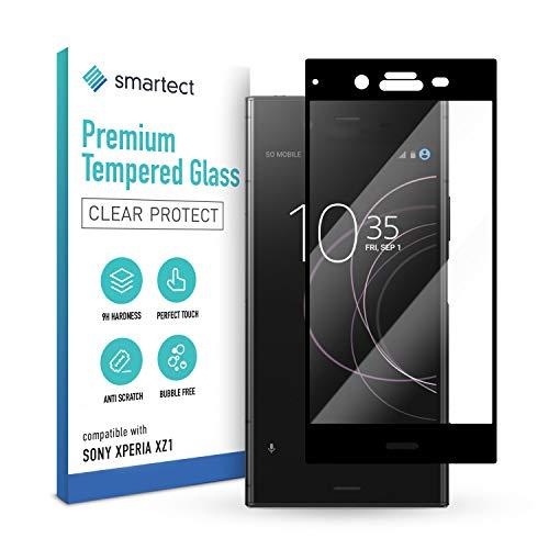 smartect Schutzglas kompatibel mit Sony Xperia XZ1 [FULL ] - Tempered Glass mit 9H Festigkeit - Schutzfolie bedeckt ganzes Bildschirm komplett Full Cover