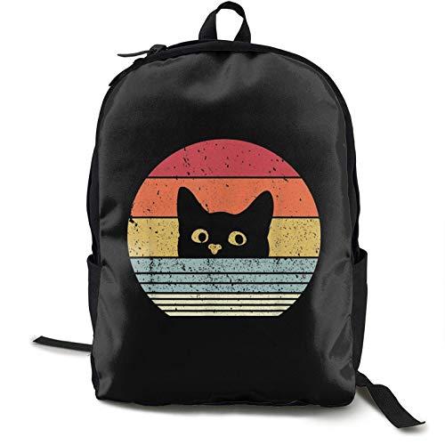 IUBBKI Mochila lateral negra Mochilas informales Zwinz Cat Retro Style Printed Backpack Lightweight Shoulder Bag