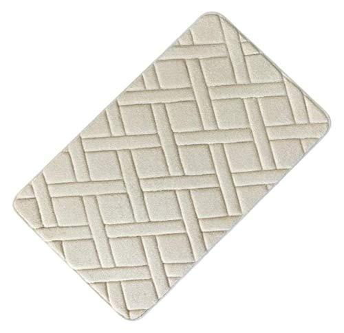 LYB Alfombra de baño rectangular supersuave y antideslizante, alfombrilla antideslizante para baño, cocina, dormitorio, alfombra de ducha de espuma antideslizante (color: beige, tamaño: 45 x 75 cm)
