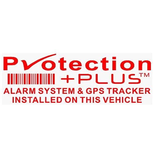 5 x Protection Plus Alarm- und GPS-Ortungsgerät Sicherheitsfenster Aufkleber rot auf klaren 87x30mm Autoschildern Tracker sichere Warnung Viper schützen abschreckende Warnung