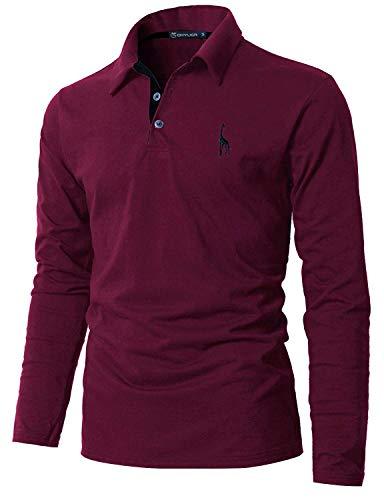 GHYUGR Polo Manga Larga Hombre Algodón Negocios Elegante Bordado de Ciervo Golf Tennis Otoño Invierno Poloshirt Camisas,Rojo Vino, (EU 42)XL