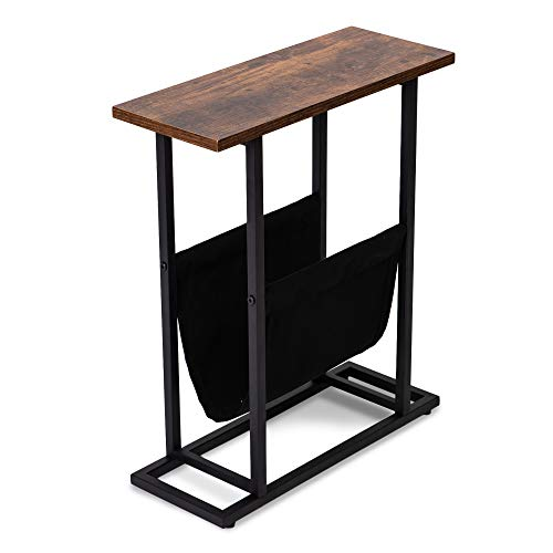 GOOD & GRACIOUS Side Table, Industrial End Table, Vintage Bedside Table with Sturdy Metal Frame for Living Room, Bedroom & Small Spaces, Easy Assembly, H Shape with Storage Holder