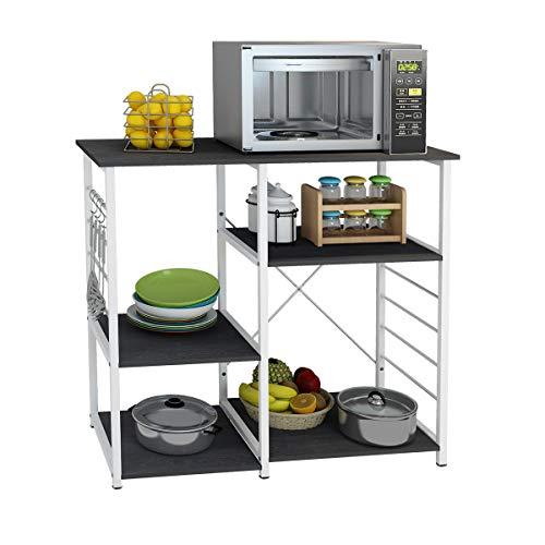 DlandHome Microwave Cart Stand 35.4 inches, Kitchen Baker's Rack Utility Storage Shelf Microwave Stand 3-Tierx3-Tier for Spice Rack Organizer Workstation Shelf, 171-B Black, 1 Pack