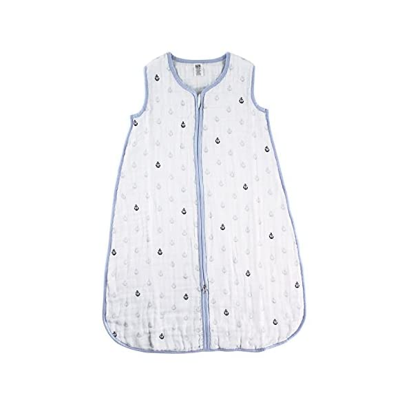 Hudson Baby Unisex Muslin Cotton Sleeveless Wearable Sleeping Bag, Sack, Blanket, Anchor, 6-12 Months