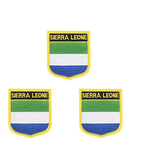 3 Stück Sierra Leone Flagge bestickt in Form eines Schildes, zum Aufbügeln oder Aufnähen.