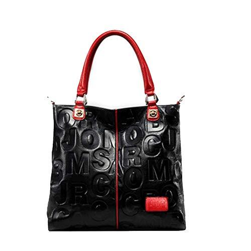 Thumby Dames Handtassen Europese en Amerikaanse Retro Handtassen Casual Mode Dames Schoudertassen Grote Capaciteit Business Zwart