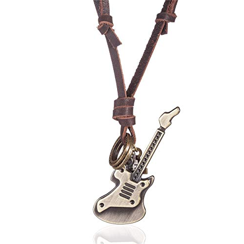 COOSTUFF ANNA Leather Necklace with Guitar Pendant Rock Punk Jewelry Long Necklaces for Men Women
