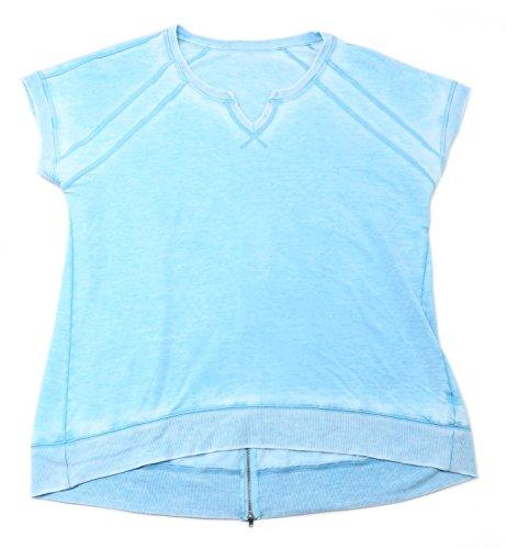 Green Tea Womens XX-Large Mineral Wash S/S Pullover Top w/Zipper Back, Mint