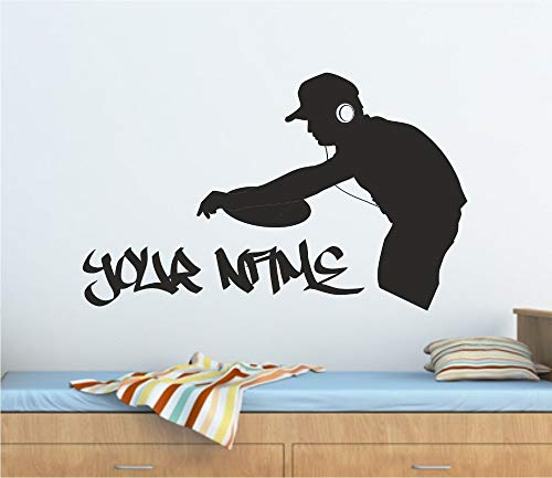 guijiumai DJ Musik Vinyl Wandtattoo personalisierte Graffiti DJ Decks Musik Wand Kunst Aufkleber Wandtattoo viele Farben Home Shop Dekor 153X95CM