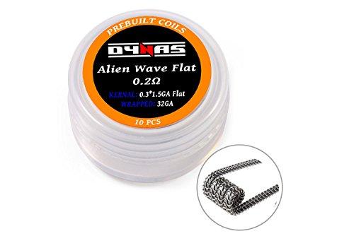 Dynas Pre Made Premium Coils 10 Ready Made Coils Per Pot for RBA RTA Decks (Alien Wave FlatΩ)