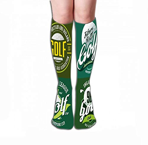 SDFGSE Women's Tube Stockings Athletic Crew Socks Golf Trophy Cup Bowl Ball Print Champions tournaments Sportswear desi