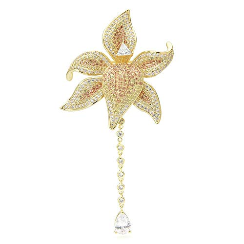 COLORFULTEA Elegant Cubic Zircon Flower Brooches Women Luxury Waterdrop Chain Flower Weddings Banquet Brooch Pins Gift