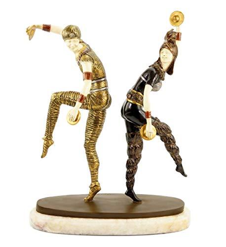 Art Deco Statue - Figura decorativa (bronce, 44 cm de altura, 100% de bronce, diseño de bailarina de Demétre Chiparus