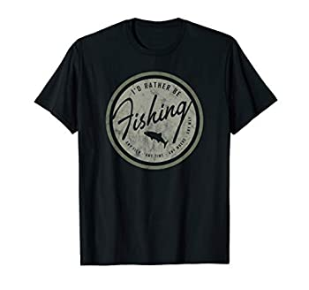 I d Rather Be Fishing T-shirt Retro Distressed Tee Olive