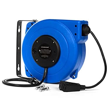 High Performance 50Ft Retractable Extension Cord Reel. 14AWG, 13A, Tri-Tap Receptacle. 180 Swivel Mounting Bracket + Hardware Included. Reset Button, LED Power Status Light & Adjustable Stopper