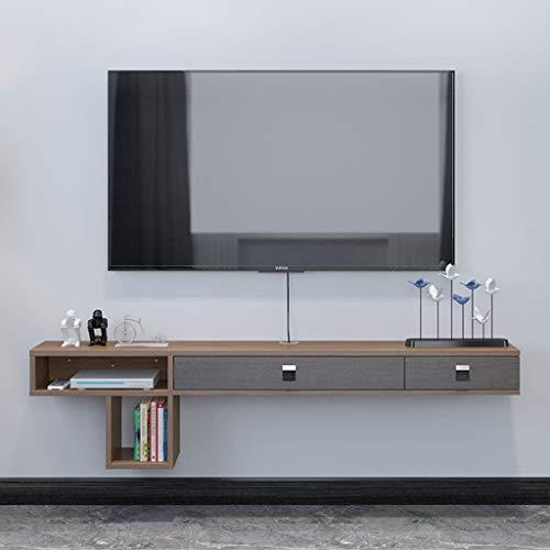 Living Room TV kabinet Wall Mounted TV meubel Asymmetrische Floating TV Console Modern Geometric Mosaic TV kabinet meerdere onafhankelijke Storage Units (Color : Walnut color)