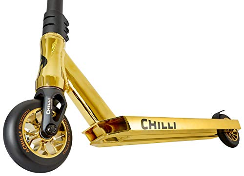 Chilli Reaper - Quality Freestyle Extreme Intermediate and Beginner Stunt Scooter for Ages 13 and up, 110 mm Wheels, Reinforced Steel T-bar, Chilli Spider HIC Compression, Pre-Assembled - Gold