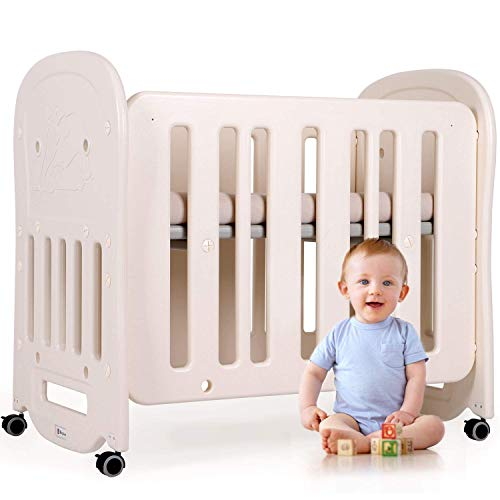Yuany Cot Peuter Bed 3 in 1 Cabrio Ledikant Baby Speelgoed, Draagbare Baby Cradle Crib, Mobile Bed Safety Barrier, BPA-vrij, Beige