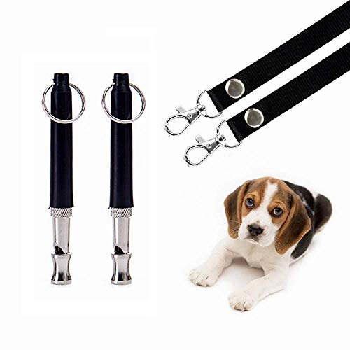 Hivernou Dog Whistle to Stop Barking, Adjustable Pitch Ultrasonic Training Tool Silent Bark Control for Dogs- Pack of 2 PCS Whistles with 2 Free Lanyard Strap