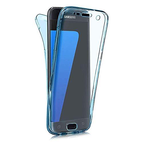 Karomenic 360 Grad Silikon Hülle kompatibel mit Samsung Galaxy S9 Fullbody Case Komplettschutz Handyhülle Vorne & Hinten Rundum Schutzhülle Ganzkörper Dünn Durchsichtige Bumper Etui,Blau