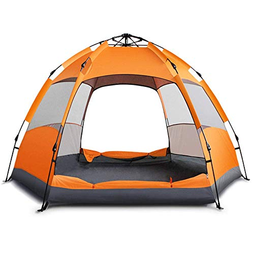 WEIFAN CAI-Fully Automatic Tent, Camping Tent, Multi-Person Double Hexagonal Tent,5-8 People(Orange)