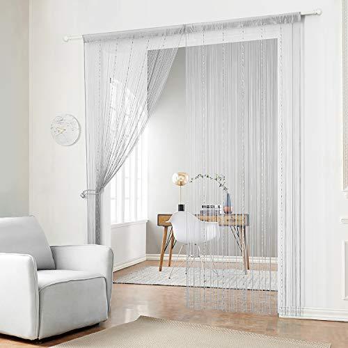 HSYLYM Fadenvorhang mit Kunststoffperlenkette, mit Fransen und Quasten, Polyester, grau, 90x200cm