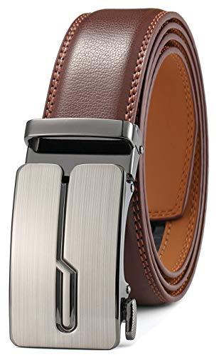 GFG Herren Gürtel,Leder Automatik Gürtel Für Herren Jeans Anzug Gürtel-3,5cm Breite-0010-125-Braun