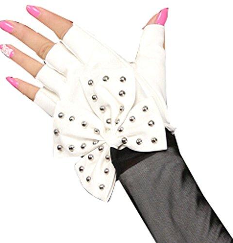 Guantes de mujeres danza punky Fotografía remaches sin dedos guantes blancos Btterfly (Varios)