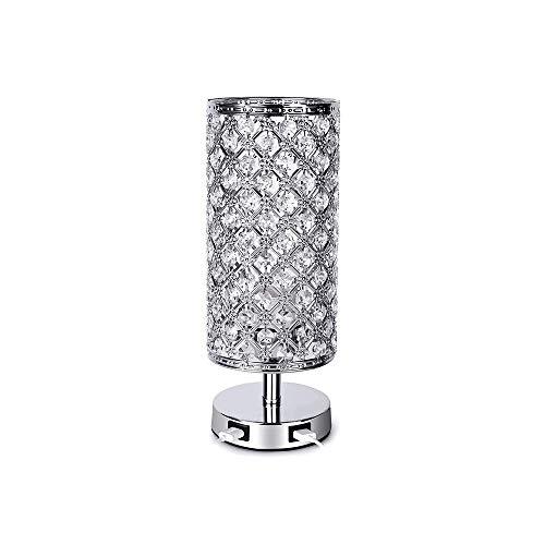 Nachar Lámpara de mesa de noche de cristal, control táctil regulable en 3 direcciones, con puertos de carga USB dobles Lámpara de mesa plateada, utilizada en el dormitorio, la sala de estar y el salón