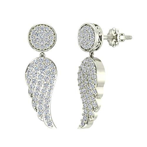 14K White Gold Diamond Drop Earrings Angel Wing Screw Backs