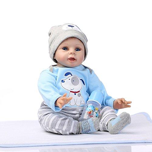 NPKDOLLS Reborn Baby Doll Soft Silicone Vinyl Baby Boy 22inch 55cm Mouth Cute boy Wearing Toy Blue Dog Cute Doll Gift Set for Ages 3+